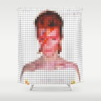 aladdin Shower Curtains featuring Bowie : Aladdin Sane Pixel by Stuff.