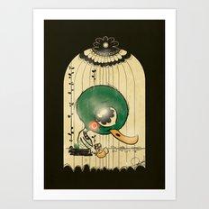 Chinese Idiom: Sitting Duck 插翅难飞 Art Print