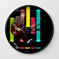 marty mcfly Wall Clocks featuring Marty McFly plays Guitar Hero by Akyanyme
