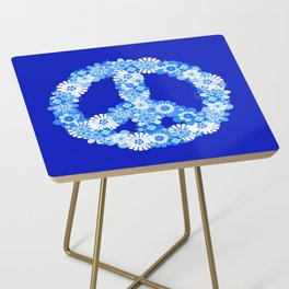 Peace Sign Floral Blue Side Table