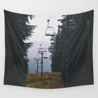 ski Wall Tapestries featuring Ski Lift by Hannah Kemp