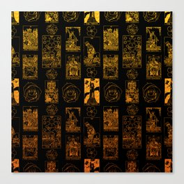 Beautiful Gold Tarot Print on Black Canvas Print