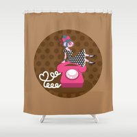 rockabilly Shower Curtains featuring  rockabilly love by Kopfzirkus