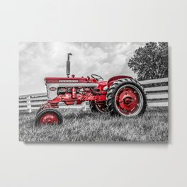 IH 240 Side View Selective Red Farmall Tractor Metal Print