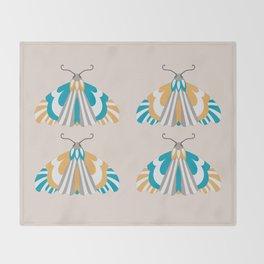 Moths - Blue and Orange Throw Blanket