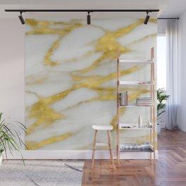Italian 18 Karat Gold on Pure Cream Marble Wall Mural