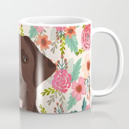 Chocolate Lab floral dog head cute labrador retriever must have pure breed dog gifts Coffee Mug