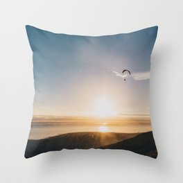 Sunset Paragliding over beach and mountains - Landscape Photography #Society6 Throw Pillow