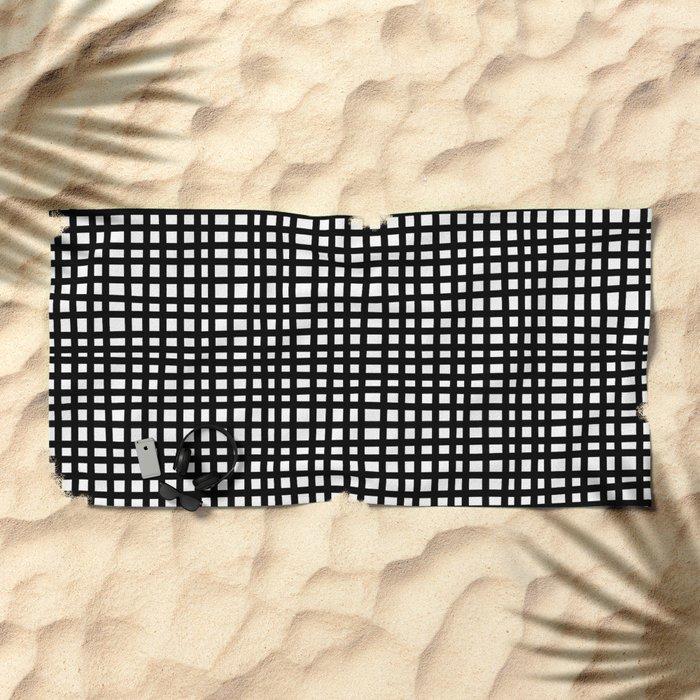 Black and White Gingham Beach Towel