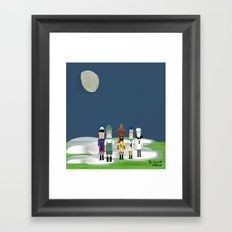 Racing Sausages Beneath a Waxing Gibbous Framed Art Print