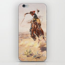A Bad Hoss by Charles Marion Russell (c 1904) iPhone Skin
