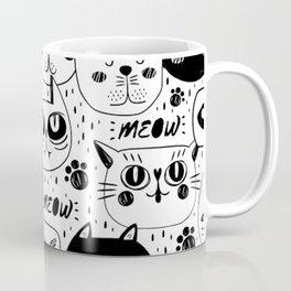 MONOCHROME CAT FACES PATTERN Coffee Mug