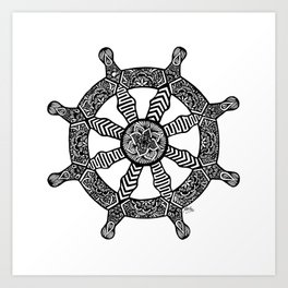 Zentangle - Dharma Wheel  Art Print