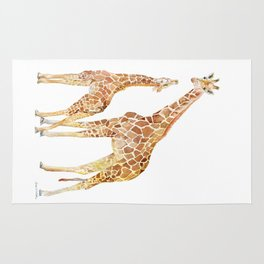 Mother and Baby Giraffes Rug