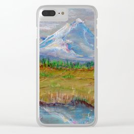 Landscape with montane and lake for good interior design drawing by pastel Clear iPhone Case