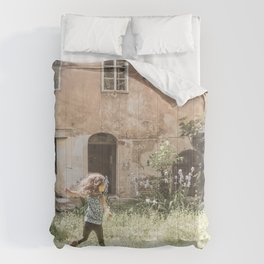 Playful in Nature | Happy Wild Skipping Child Vintage Outdoor Field Rustic Charming Country Farm Comforters