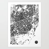 barcelona Art Prints featuring Barcelona by Maps Factory