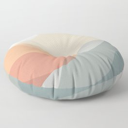 Waves in Muted Tones, Blush, Teal & Gold Floor Pillow