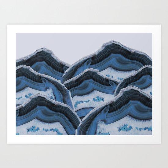 Agate Blue Mountains Art Print