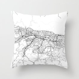 Caracas Map White Throw Pillow