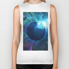 Abstract colorful shiny print graphic with planet space Biker Tank