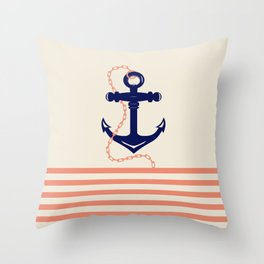 AFE Navy Anchor and Chain Throw Pillow