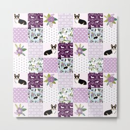 Tricolored Corgi Patchwork - feminine floral, florals corgis, dog lover, dog design, cute dogs Metal Print