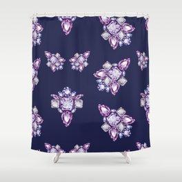 Jewelbox: Amethyst Brooch on Indigo Ink Shower Curtain