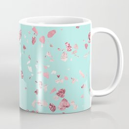 Turquoise and Rosegold Glitter Terrazzo Coffee Mug