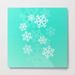 Cute turquoise snowflakes Metal Print
