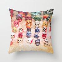sugar skulls Throw Pillows featuring Sugar Skulls by Jenndalyn