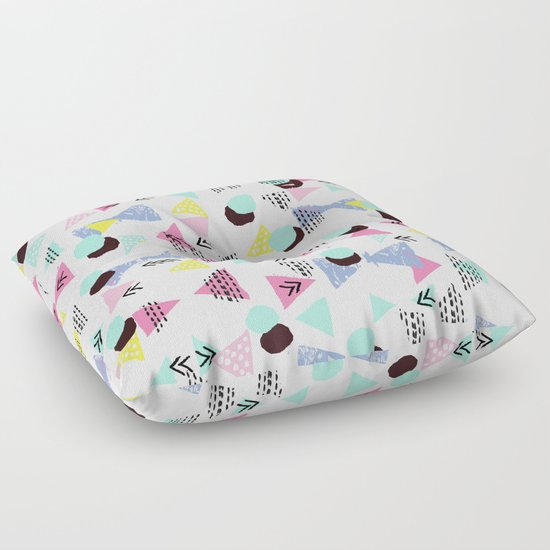 Floor Pillows For Nursery : Geometric Minimal pastel modern pattern design triangle dots polka dots memphis basic nursery ...