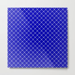 Royal Blue Classic Diagonal Grid Metal Print