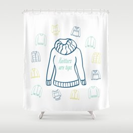 Knitters Are Tops - Nautical Shower Curtain