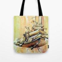 school Tote Bags featuring school by Andreas Derebucha