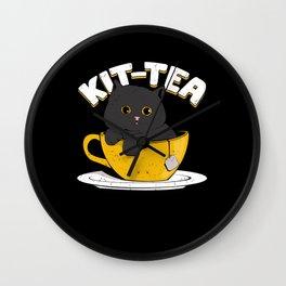 Kit-Tea Funny Cat Lover Tea Drinker Gift Wall Clock