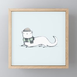 Ermine in Hat & Scarf Framed Mini Art Print