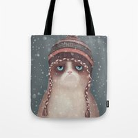 cat coquillette Tote Bags featuring Christmas Cat by Lime