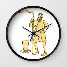 Medieval Farmer Holding Scythe Etching Wall Clock