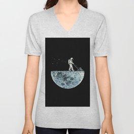 Astronaut Black Moon Lawnmower Unisex V-Neck