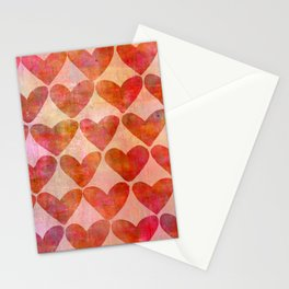 red Hearts mixed media pattern Stationery Cards
