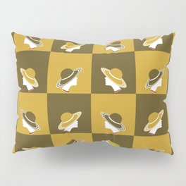 Hat lady in Brown and Mustard Yellow Pillow Sham