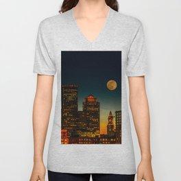 Boston Pink  Moon Unisex V-Neck