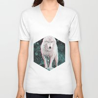 hologram V-neck T-shirts featuring hologram wolf by Avalon Corvus