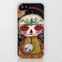 Frida The Catrina And The Skull - Dia De Los Muertos Mixed Media Art iPhone Case