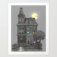 pacman Art Prints featuring Haunted by the 80's by Terry Fan