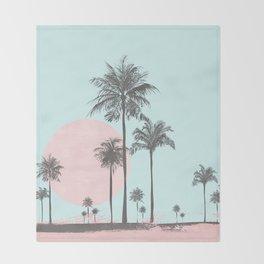 Beachfront palm tree soft pastel sunset graphic Throw Blanket