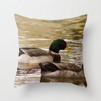 ducks Throw Pillows featuring Ducks by Sciuridae