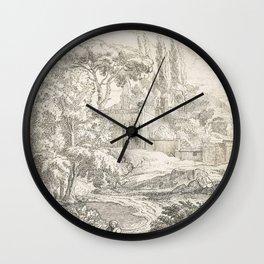 Abraham Genoels II - Landschap met liggende figuur Wall Clock