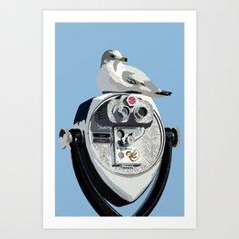 Seagull on Binoculars by the Ocean Illustrated Print Art Print